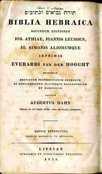 Biblia Hebraica, Secudum Editionem Jos. Athiae, A Johanne Leusden...  Ab Everardo Van Der Hooght