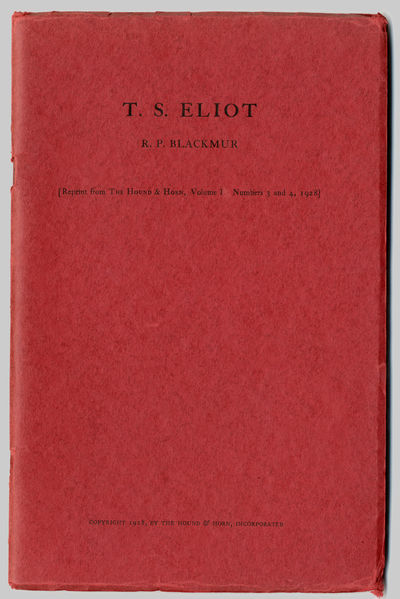: Reprinted from THE HOUND & HORN, I:3/4, 1928. Printed red wrappers. First edition of the author's ...