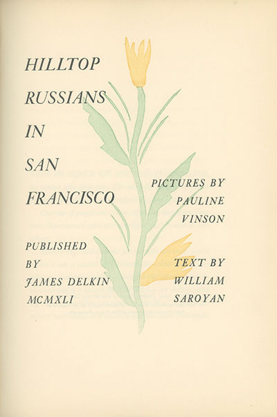 (San Francisco: James Delkin), 1941, 1941. First edition, one of 500 copies printed by the Grabhorn ...