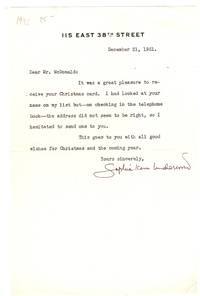 TLS from NYC Editor/Author Sophie Kerr Underwood to Mr. (Gerald) McDonald with thanks for Christmas card