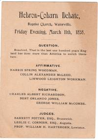 Victorian Debate Card, the Annual debate between Hebron Academy and Coburn Classical Institute, Waterville Maine