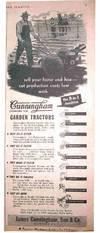 Cunningham Garden Tractor, the 9-in1 Machine. Original March 1949 Advertisement in Southern Planter