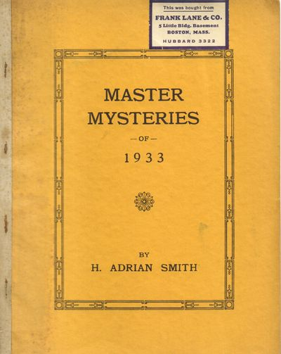 Riverside, RI. Good. 1933. Softcover. Orange wrapper with cloth staplebound spine. Soiling and damps...