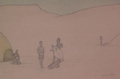 Johannesburg, 1945. unbound. very good. NTULE, Jabulani. Pencil drawing with watercolor. Image measu...