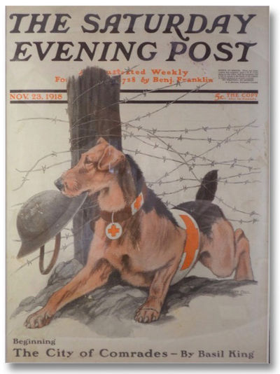 The Saturday Evening Post, 1918. Print. Near Fine. Faintly toned. 1918 Print. A poignant illustratio...