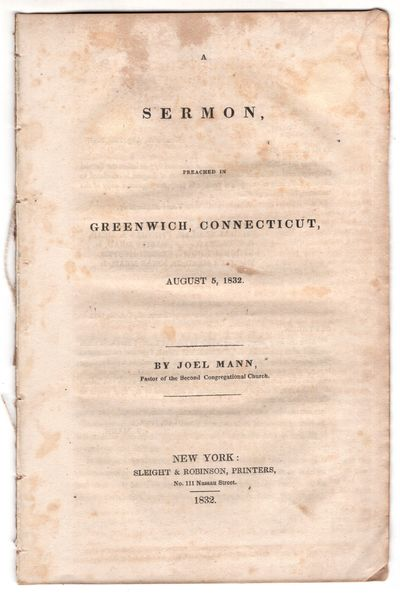 New York: Sleight and Robinson, Printers 111 Nassau Street , 1832. First Edition. Pamphlet. ver . 16...