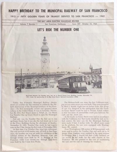 San Francisco: Bay Area Electric Railroad Association, 1962. 4p., 8.5x11 inch newsletter, fold creas...