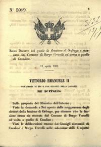 col quale la frazione di Orfenge è staccata dal Comune di Borgo Vercelli ed unita a quello di Casalino.