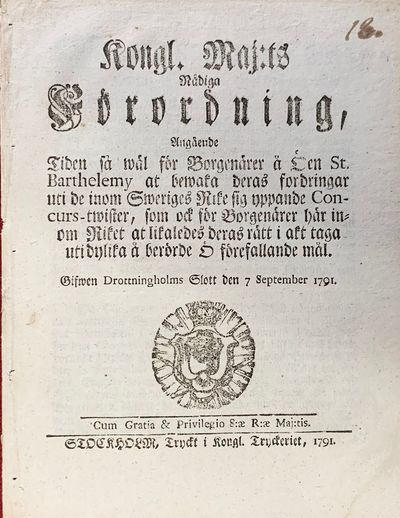 Decree issued by Gustaf III of Sweden...