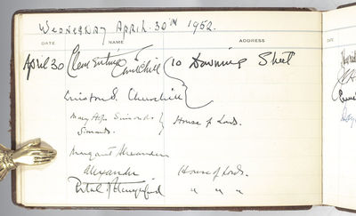 , 1951-1952. Rare 1951-1952 guestbook from the American Embassy in London signed by an impressive ar...