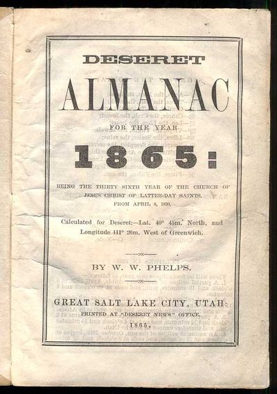 Deseret Almanac for the Year of 1865:...