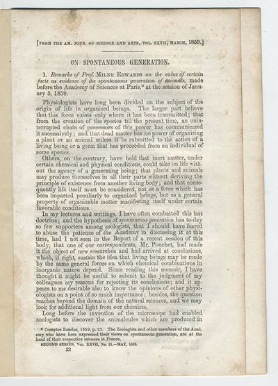 N.p.: American Journal of Science and Arts, . 8vo. –410 pp. An off-print. Remarks of Milne Edwards...