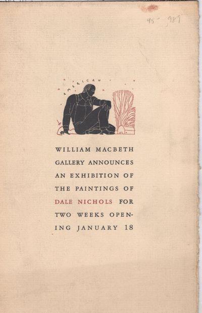 New York: Macbeth Gallery , 1938. Leaflet. Very good. Single leaf of textured paper, folded twice, p...