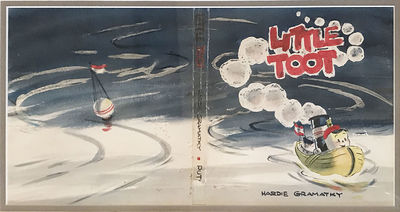 Finished watercolor study for the original dust jacket design of Little Toot, the book was published...