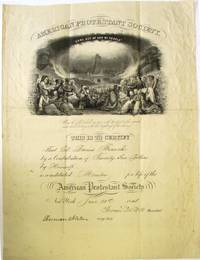 DOCUMENT SIGNED, BY THOMAS DE WITT, PRESIDENT OF THE AMERICAN PROTESTANT SOCIETY, AND HERMAN NORTON, ITS CORRESPONDING SECRETARY, CERTIFYING THAT COLONEL DARIUS BRANCH IS A LIFE MEMBER OF THE SOCIETY. DATED AT NEW YORK, JUNE 21, 1848 by American Protestant Society - from David M. Lesser, Fine Antiquarian Books LLC (SKU: 31210)