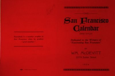 San Francisco: William McDevitt, 1924. Single red cardstock sheet, 8.5x11 inches, printed letterpres...