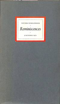 Reminiscences - Octobre 1970 by  VICTOR-AMSTERDAM / VANGENDT & CO SCHOLDERER - from Frits Knuf Antiquarian Books (SKU: 58512)