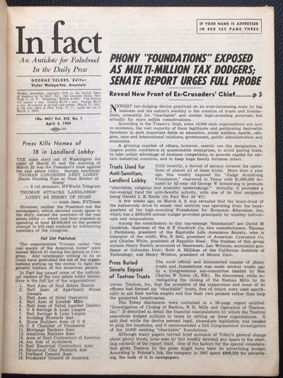 New York: In Fact, Inc, 1949. All issues of the newsletter from vol. 19, spanning the period from Ap...