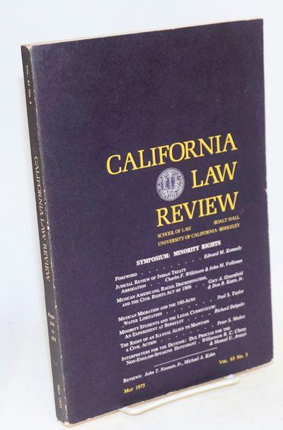 Berkeley, CA: School of Law of the University of California, Berkeley, 1975. 596-844p., wraps mildly...
