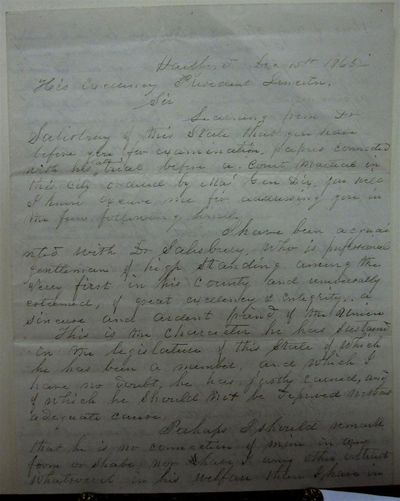 Hartford, 1863. unbound. A highly important retained copy of a letter written to President Abraham L...