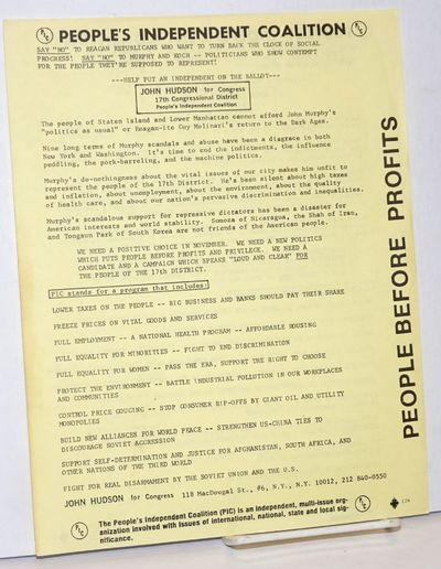 New York: The People's Independent Coalition (PIC), 1980. Leaflet, printed on both sides (English / ...