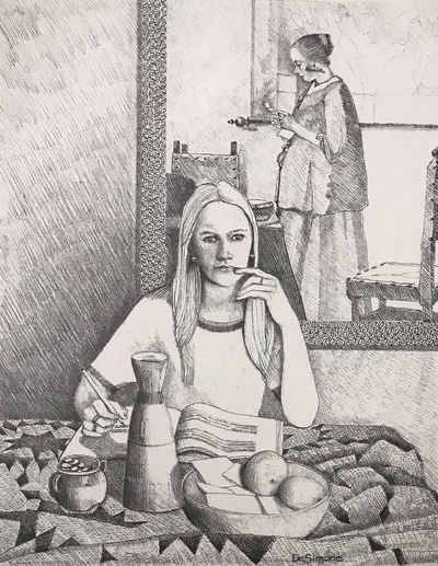 Lithograph of a woman writing in...
