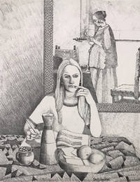 Lithograph of a woman writing in front of Vermeer's