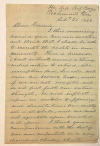 AUTOGRAPH LETTER SIGNED, FROM CONFEDERATE CONGRESSMAN CHILTON AT RICHMOND, TO ALABAMA GOVERNOR JOHN GILL SHORTER, 20 SEPTEMBER 1862, ON PROGRESS AND TACTICS OF THE WAR, ABRAHAM LINCOLN, AND POLITICAL MATTERS