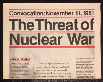Cambridge, MA: Union of Concerned Scientists, 1981. Four-panel brochure, tabloid newspaper format bu...