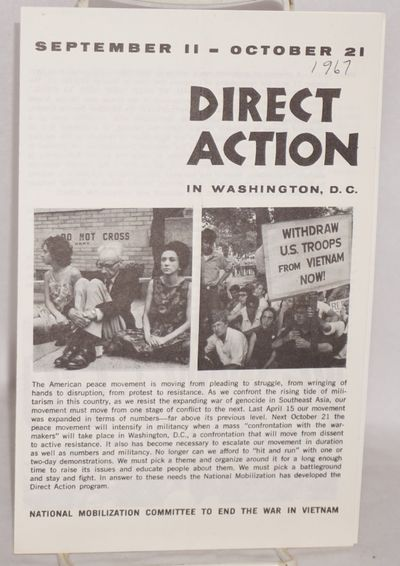 New York: National Mobilization Committee, 1967. Four-panel brochure, 5.5x8.5 inches; three black an...