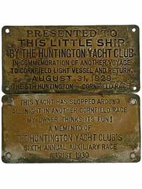 Two Huntington Yacht Club Metal Plaques, Given in Participation of the 1929 and 1930 Annual Race