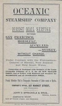 image of Oceanic Steamship Company - San Francisco, Hawaii, New Zealand, New South Wales