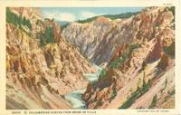 Yellowstone Canyon from Brink of Falls, 1929 unused linen Postcard