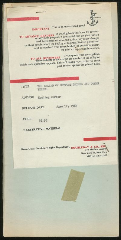 New York: Doubleday & Company, Inc, 1964. Softcover. Very Good. Uncorrected proof in the form of sta...