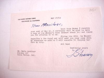 New York, 1959. TLS by Igor Stravinsky, addressed in ink to