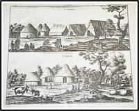 Copperplate 18th Century Engraving Two views of villages on the Islands of St Anthony and St Vincent, East-Indies, populated by the Portuguese and their slaves.