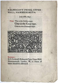 Original catalogue of books for sale from the Kelmscott Press