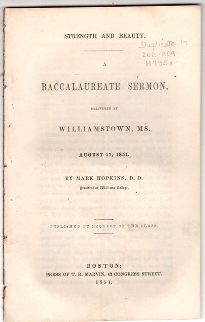 Boston: Press of T.R. Marvin, 42 Congress Street , 1851. First Edition. Pamphlet. Very good. Publish...