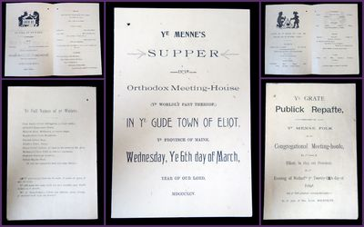 Eliot, Maine, 1895-1896. A collection of two menus which are meant to be humorous by playing accents...