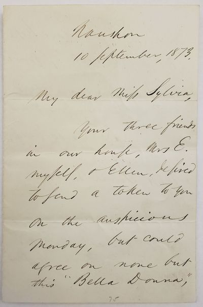 Emerson, Ralph Waldo. American Writer and Philosopher. Autograph Letter Signed by Ralph Waldo Emerso...