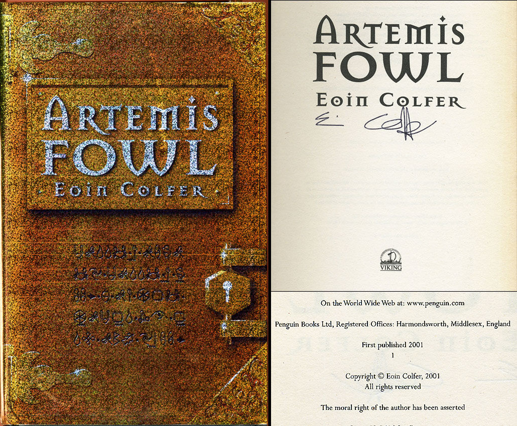 Artemis Fowl By Eoin Colfer Signed First Edition 2001