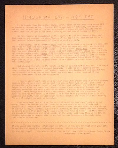Voluntown, CT: New England Committee for Nonviolent Action, 1969. 8.5x11 inch handbill, paper toned....