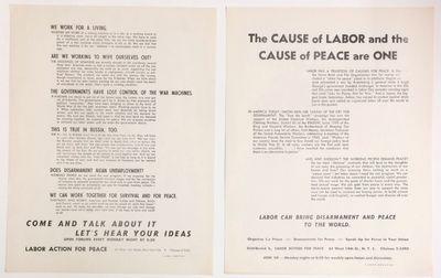 New York: Labor Action for Peace, . Two 8.5x11 inch handbills, circa 1962, calling on labor activist...