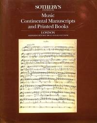 Sale 28 May 1986: Music, Continental MSS and Printed Books.