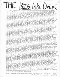 The Big TakeOver: Stimulators' Newsletter, Run of Six Issues, 1980-81 [New York Punk, Hardcore Zine, Big Take Over]