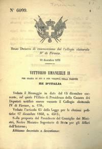di convocazione del Collegio elettorale IV di Firenze.