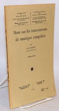 image of Note sur les instruments de musique congolais; deuxième édition