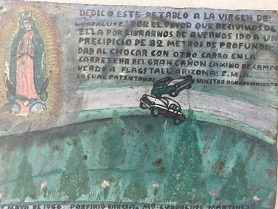 Mexico , 1956. Very good. A retablo, or laminas in Mexico, is a small painting on tin, zinc, copper...