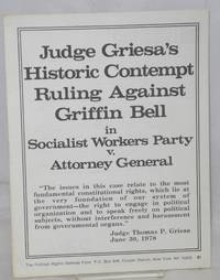 Judge Griesa's historic contempt ruling against Griffin Bell in Socialist Workers Party v. Attorney General
