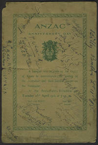 ANZAC Anniversary Day.  Commemorative menu and program for the First ANZAC commemoration, 25th April 1916 in London, AUTOGRAPHED by Attendees